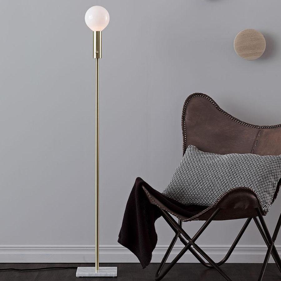 Marble Square gulvlampe - Messing - Lys-Lamper.dk