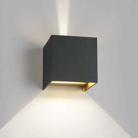 Box up/down LED væglampe - Sort/guld