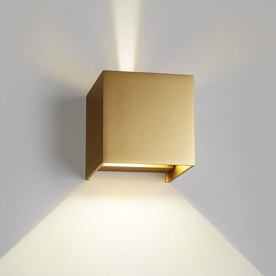 Ultra Light-Point Box up/down LED væglampe - Guld - Lys-Lamper.dk AJ08