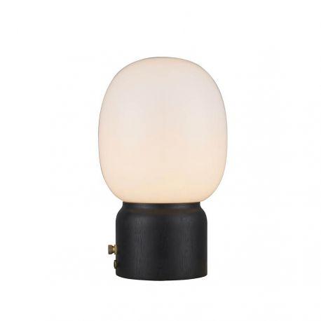 Cream bordlampe - Opal/sortbejdset træ