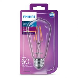 Philips LED Edison Filament 6W (60W) Varm hvid E27