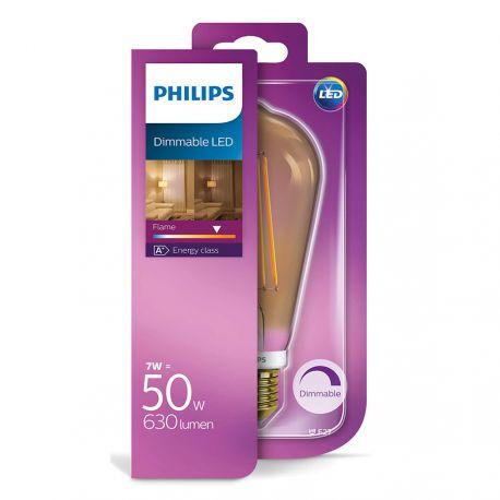 Philips LED Edison Filament Gold 7W (50W) Dæmpbar E27