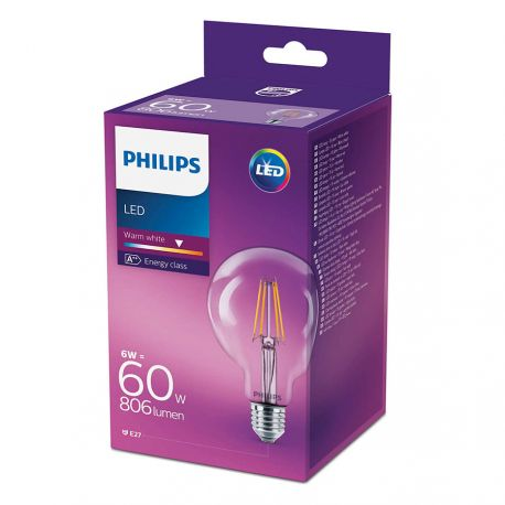 Philips LED Globe Filament 6W (60W) Varm hvid E27