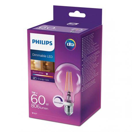 Philips LED Globe Filament 7W (60W) Dæmpbar Varm hvid E27