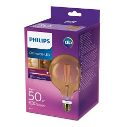 Philips LED Globe Filament Gold 7W (50W) Dæmpbar E27