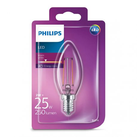 Philips LED Kerte Filament 2W (25W) Varm hvid E14
