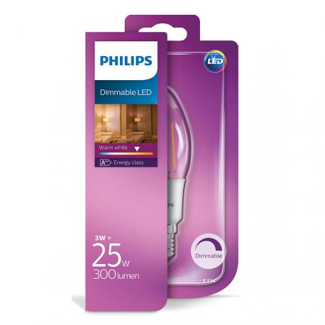 Philips LED Kerte Filament 3W (25W) Dæmpbar Varm hvid E14