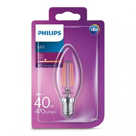 Philips LED Kerte Filament 4W (40W) Varm hvid E14