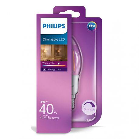 Philips LED Kerte Filament 5W (40W) Dæmpbar Varm hvid E14