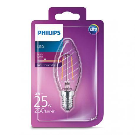 Philips LED Kerte snoet Filament 2W (25W) Varm hvid E14