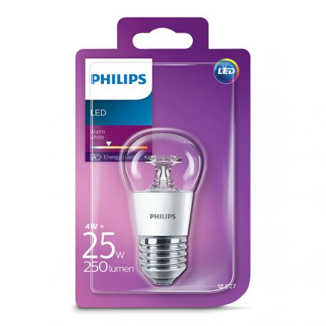 Philips LED Krone Klar 4W (25W) Varm hvid E27