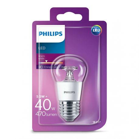 Philips LED Krone Klar 5,5W (40W) Varm hvid E27
