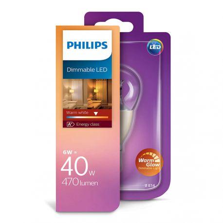 Philips LED Krone 6W (40W) Dæmpbar WarmGlow E14