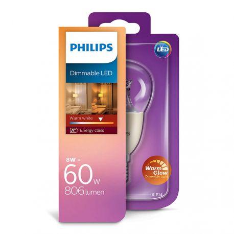 Philips LED Krone 8W (60W) Dæmpbar WarmGlow E14