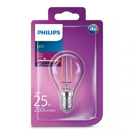 Philips LED Krone Filament 2W (25W) Varm hvid E14