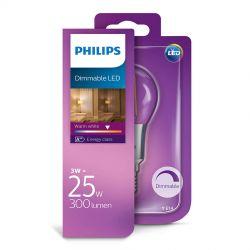Philips LED Krone Filament 3W (25W) Dæmpbar Varm hvid E14