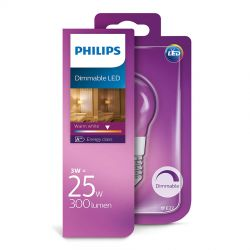 Philips LED Krone Filament 3W (25W) Dæmpbar Varm hvid E27