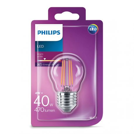 Philips LED Krone Filament 4W (40W) Varm hvid E27