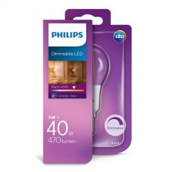Philips LED Krone Filament 5W (40W) Dæmpbar Varm hvid E14