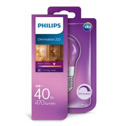 Philips LED Krone Filament 5W (40W) Dæmpbar Varm hvid E27