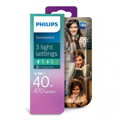 Philips LED SceneSwitch Kerte 5,5W (40W) 3 lysfarver E14