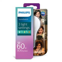 Philips LED SceneSwitch Standard 8W (60W) 3 lysfarver E27