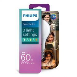 Philips LED SceneSwitch Standard 8W (60W) 3 lysfarver E27