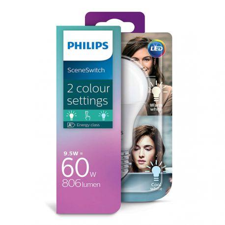 Philips LED SceneSwitch Standard 9,5W (60W) 2 lysfarver E27