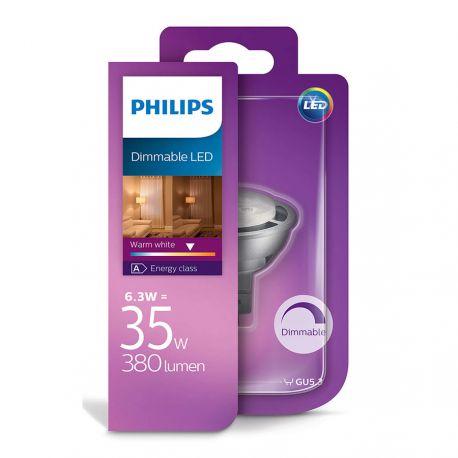 Philips LED Spot 6,3W (35W) Dæmpbar Varm hvid 12 Volt GU5,3