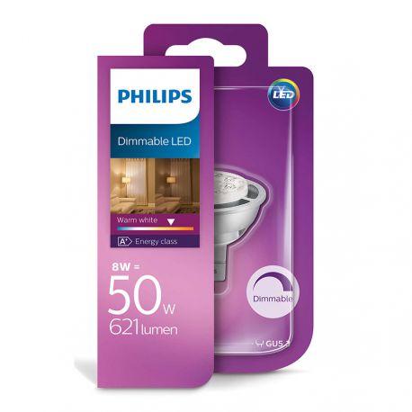 Philips LED Spot 8W (50W) Dæmpbar Varm hvid 12 Volt GU5,3