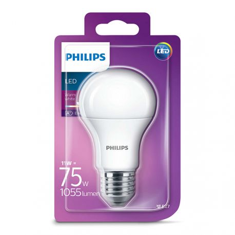 Philips LED Standard Mat 11W (75W) Varm hvid E27