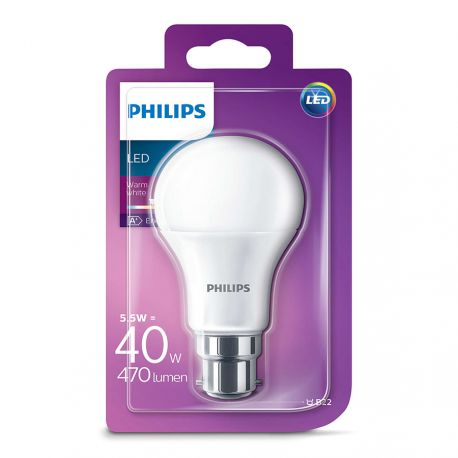 Philips LED Standard 5,5W (40W) Varm hvid B22