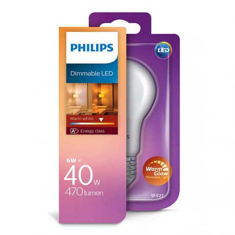 Philips LED Standard Mat 6W (40W) Dæmpbar WarmGlow E27
