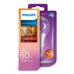 Philips LED Standard 8,5W (60W) Dæmpbar WarmGlow E27