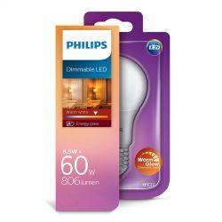 Philips LED Standard Mat 8,5W (60W) Dæmpbar WarmGlow E27