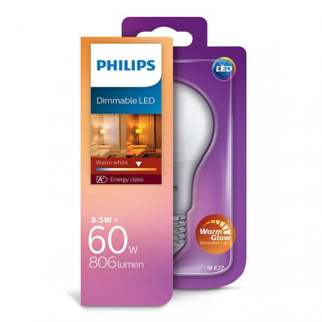 Philips LED Standard Mat 8,5W (60W) Dæmpbar WarmGlow E27
