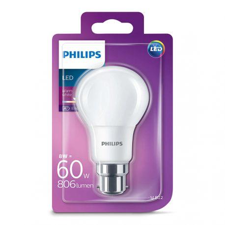 Philips LED Standard 8W (60W) Varm hvid B22