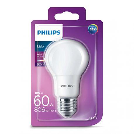 Philips LED Standard 8W (60W) Varm hvid E27