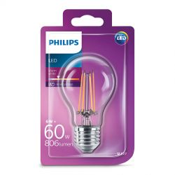 Philips LED Standard Filament 6W (60W) Varm hvid E27
