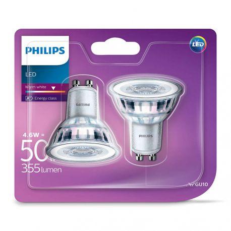 Philips LEDClassic Spot 4,6W (50W) Varm hvid GU10 - 2 Pak