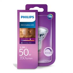 Philips LEDClassic Spot 5,5W (50W) Dæmpbar Varm hvid GU10