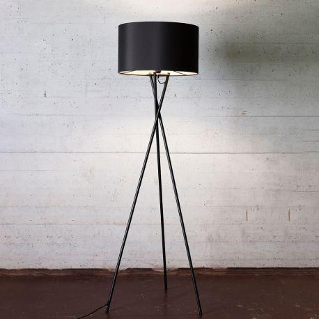 Uptown gulvlampe - Sort m. sort lampeskærm