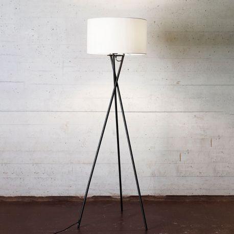 Uptown gulvlampe - Sort m. hvid lampeskærm