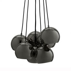 Frandsen Ball Multi lysekrone m. 7 pendler - Blank sortforkromet