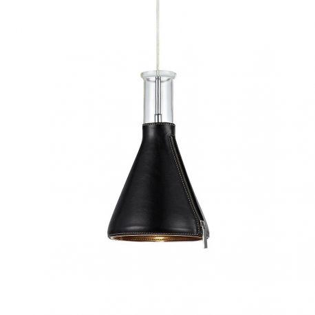 Markslöjd Zip pendel - Glas/sort læder