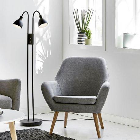 Nordlux Ray dobbelt gulvlampe m/lysdæmper - Sort