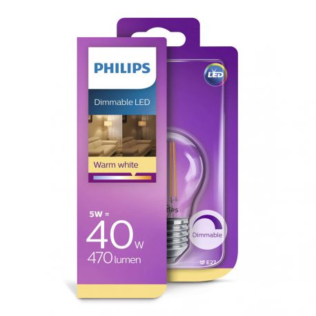 Philips LED Classic Filament 5W (40W) Dæmpbar E27
