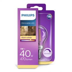 Philips LED Classic Filament 5W (40W) Dæmpbar E14