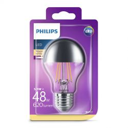 Philips LED Filament Topforspejlet 5,5W (48W) Varm hvid E27