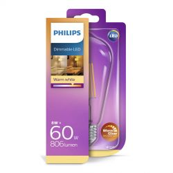 Philips LED Classic WarmGlow Filament 8W (60W) Dæmpbar E27